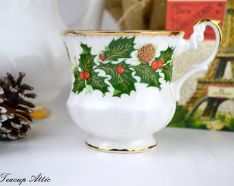 Rosina Yuletide Replacement Teacup, English Bone China Tea Cup Only, Orphan Teacup, ca. 1952