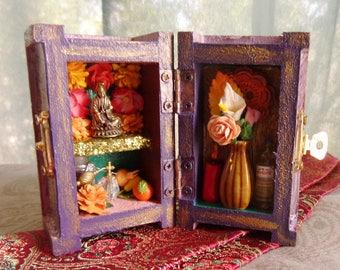 Kwan Yin Mini Box Shrine. Miniature Nicho.  Travel Altar Shrine. Shadow Box. Mixed Media Altered Art. Quan Yin Guanyin Guan Yin