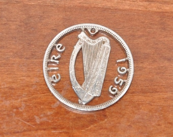 Irish harp. Eire 1959 Cut coin scripting pendant necklace charm Florin coin with stainless steel jumpring Coin cut jewelry All handmade