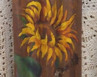 Bright, Yellow, Happy Sunflower, Farmhouse Decor, Rusted Metal, Repurposed, Country Decor, Primitive