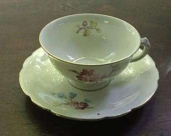 Antique KPM Fine China Teacup and Saucer Set