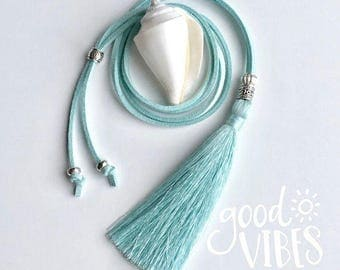 tassel necklace, aqua faux suede necklace, beachcomber bohemian jewelry, bohemian necklace