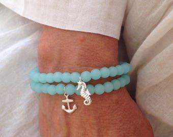 nautical bracelet, cultured sea glass jewelry, gift for her, anchor bracelet, beach bracelet, mermaid jewelry