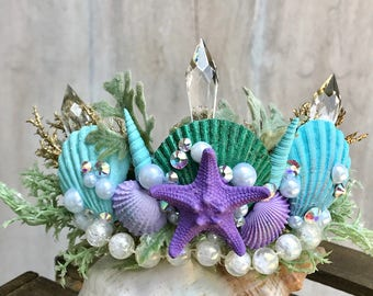 Little Mermaid Crown - Mermaid Party - Birthday Party - Bachelorette Crown - Bachelorette Party - Flower Girl