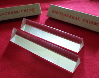 Mid Century Equilateral Prism...Made in Japan..Glass..Set of Two..