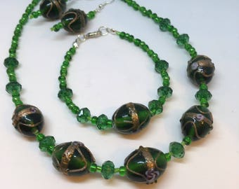 Dark Green and Gold colour Patterned Glass Bead set of 3 Handmade Necklace 16 inches approx Bracelet approx 7 inches and Dangle Earrings