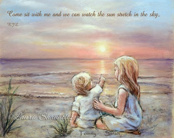 """PERSONALIZED, Names, Hair-color, quotes added, Brothers or sisters, Beach """"Good Morning Sunshine"""" Laurie Shanholtzer"""