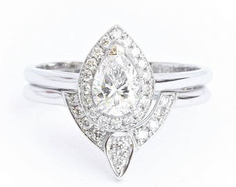 1/2 Ct Pear Diamond Halo Engagement Ring + Matching Diamond Wedding Ring - Bridal Set; Halo Diamond Ring With Matching Side Band, 14K Gold