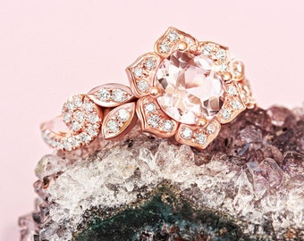 Lily Rose Flower Ring, Wave Diamond Ring, Morganite Gold Ring, Unique Engagement Ring, Flower Engagement Ring