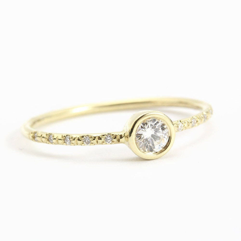 delicate engagement ring 14k thin gold ring 0 25ct pave