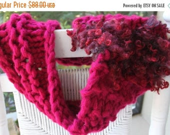 XMAS IN JULY up to 50%off Sale Hand Knit Bulky Shrug in shades of Maroon and made of Super Bulky Yarn and Locks