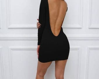 """ON SALE Womens Ladies New Black """"Sienna"""" Low Back Backless Bodycon Party Long Sleeve Mini Dress"""