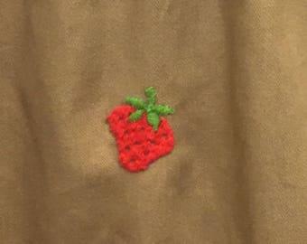 "Vintage embroidered ""strawberry fields"" strawberry novelty print khaki skater skirt/tennis skirt/size small"