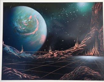 "Alien Grid Station  - 11"" X 14"" Spray Paint on posterboard by Markus Fussell"