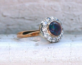 RESERVED - Gorgeous Antique Opal and Diamond 18K Yellow Gold/ Platinum Engagement Ring - 1.48ct.