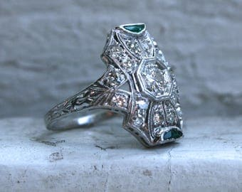 Vintage Art Deco Platinum Diamond and Emerald Ring Engagement Ring - 0.75ct.