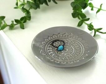 Large Grey Ring Dish - Vanity Tray, Boho Trinket Holder.  Handmade ceramic dish for holding jewelry or tiny treasures!