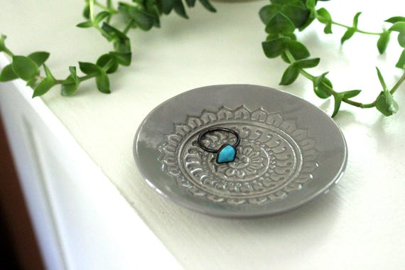 Large Grey Ring Dish - Vanity Tray, Boho Trinket Holder.  Handmade ceramic dish for holding jewelry or tiny treasures!