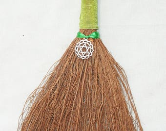 Heart Chakra Hand Besom for Wiccan and Pagan Rituals - 12 inches