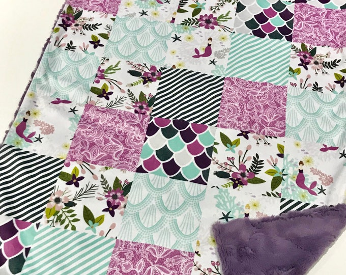 Featured listing image: Purple Mermaid Baby Girl Blanket - Minky Baby Blanket, Purple and Aqua Sea Baby Blanket, Personalized Baby Blanket, Crib Quilt