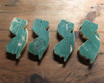 reclaimed wood ornament - jersey