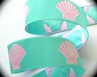 """Sea Shell Woven Jacquard Ribbon  -  1"""" x 3 yards  Aqua and Pink"""