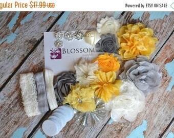 ON SALE DIY Headband Making Kit - Yellow/Gray Collection - Chiffon Frayed Flowers - Shabby Rose Trim - Baby Flower Headbands - Glitter Bows