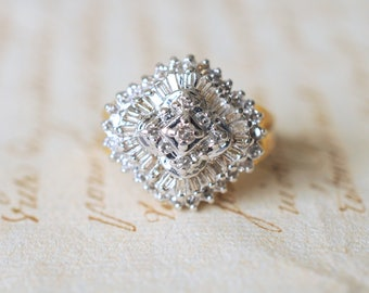 SALE! 1980's / vintage 1 Carat diamond ring / baguette and round diamonds / 14k gold engagement wedding statement ring // HALLEY