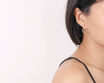 ON SALE Delicate simple everyday front stud back circle earrings - 2 ways minimal earrings