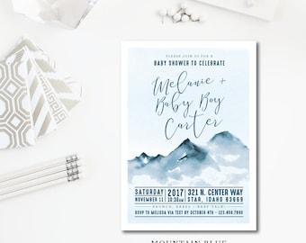 Mountain Blue Baby Shower Invitations