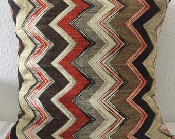 Throw Pillow Cushion Cover, Zig Zag Chevron, Single Pillow Cover 18x18 square - Mill Creek Sussex Home Decor Fabric in Flint