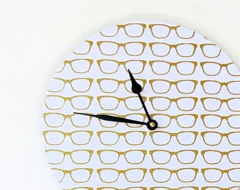 Retro Wall Clock, Home and Living, Gold Glitter Eyeglasses, Home Decor, Decor and Housewares, Wall Clocks, Unique Wall Clock