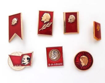 Vladimir Lenin pins, Soviet Union metal pin badge, Vintage Russian memorabilia 1970s, communism propaganda USSR red flag