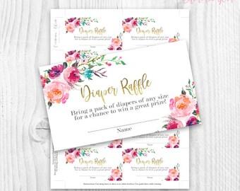 floral Diaper Raffle cards, gold foil watercolor floral, Diaper Raffle floral girl floral card, baby shower girl diaper raffle card, rustic