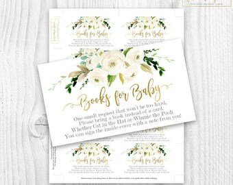 floral white and gold bring a book cards, boho floral bring a book cards, rustic baby shower girl books for baby cards