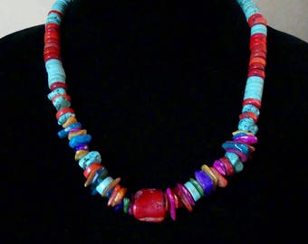 21 Inch Southwestern Rustic Red Coral and Turquoise and Mother of Pearl Necklace with Earrings
