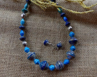 18 Inch Fair Trade Ethnic African Blue and Turquoise Hand Rolled Paper Necklace with Earrings