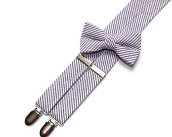 Boys Seersucker Suspenders~Purple Seersucker~Boys Suspenders~Wedding Suspenders~Wedding~Boys Seersucker Bow Tie~Boys Suspender Set