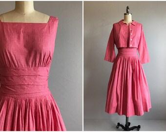 Vintage 1950s Dress / 50s Jonathan Logan Two Piece Pink Textured Sundress Pleated Skirt Blouse and Bolero Jacket / Watermelon Pink Check