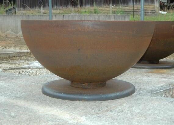 Fire Pit 37.5 Inch Deep Bowl Pedestal Base Firepit Metal Fire