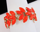 1960'S Wide Juliana Bracelet Orange Glass Stones Clear White Rhinestones  7 1/2 Inches Long Bright Cheery Bracelet Excellent Condition