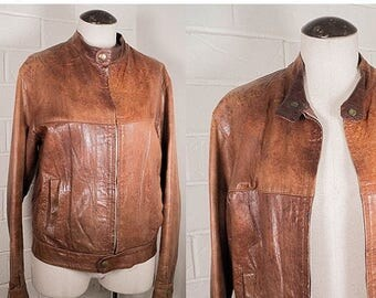 Vintage Brown Distressed Leather Jacket Classic Motorcycle Soft Suede Joseph Magnin Wolf Den 1970s Size Small/Medium