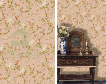 Dollhouse Miniature Wallpaper, Tokyo Rose, Scale One Inch
