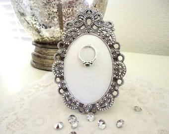 wedding ring holder oval diamond ring frame bridal shower gift engagement ring holder - Wedding Ring Holder