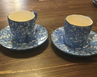 Set of Two Vintage Blue Stengl Spongeware Cup and Saucer