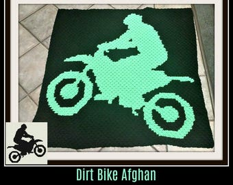 Dirt Bike Afghan, C2C Graph, Written Word Chart