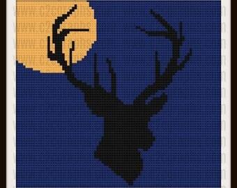 Deer Full Moon, Deer Afghan, Deer C2C Graph, Deer Crochet Pattern