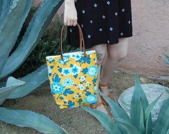 Tote Bag with Pockets, Floral Bucket Bag, Handbag, Boho Fashion, Everyday Bag, Gift For Her, Carry All Bag, Summer Tote, Yellow and Blue