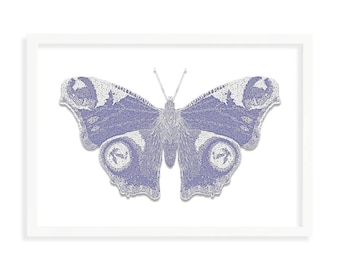 Blue Butterfly A3 (420mm x 297mm) - Instant Download Only