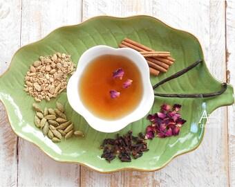 Tea, Chai, Rose Herbal Chai Tea, Organic, Green Rooibos, SHANTI CHAI, Rose Spice Tea, India Spice, Caffeine Free, Relax, Calming, Spiced Tea